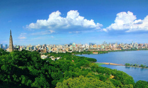 Hangzhou - West Lake, Broken Bridge, Geling Hill and the Hangzhou downtown area east of West Lake.